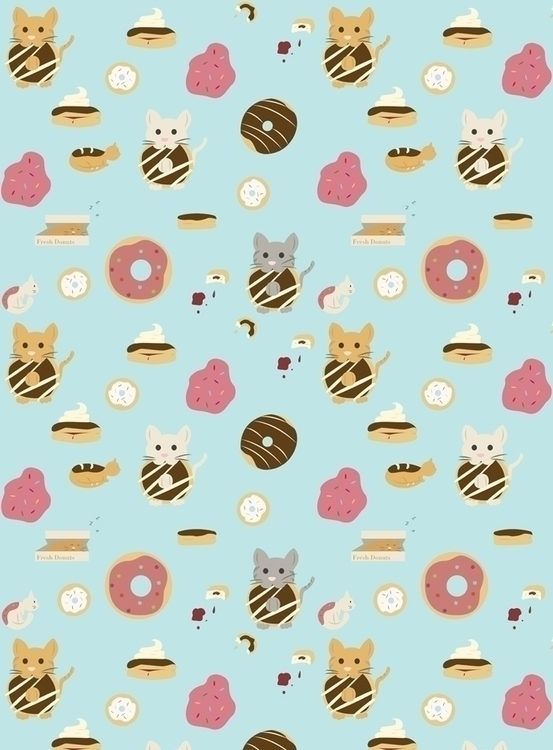 doughnut cat themed pattern cre - svaeth | ello