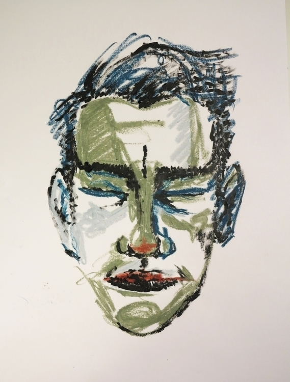 portrait. Oil pastel cardboard - missingsock   ello
