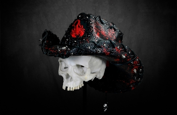 RED SPLATTERED SCORPION hat Bon - boneheadwear | ello