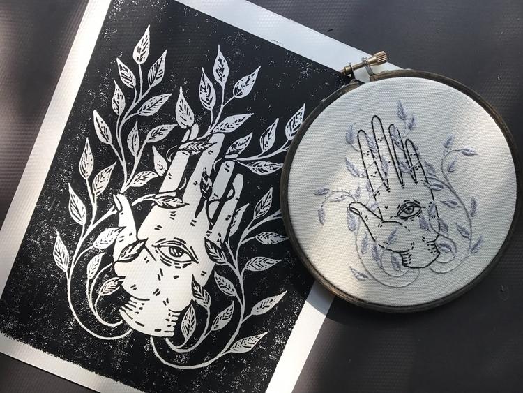 experimenting printmaking linol - spookyghoul | ello