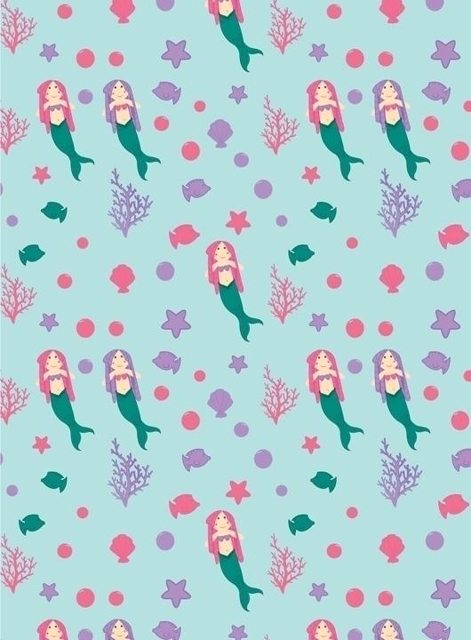 mermaid themed pattern designed - svaeth   ello