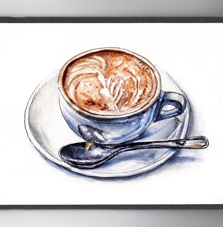 Frothy Cup Joe - watercolor, watercolour - doodlewash | ello