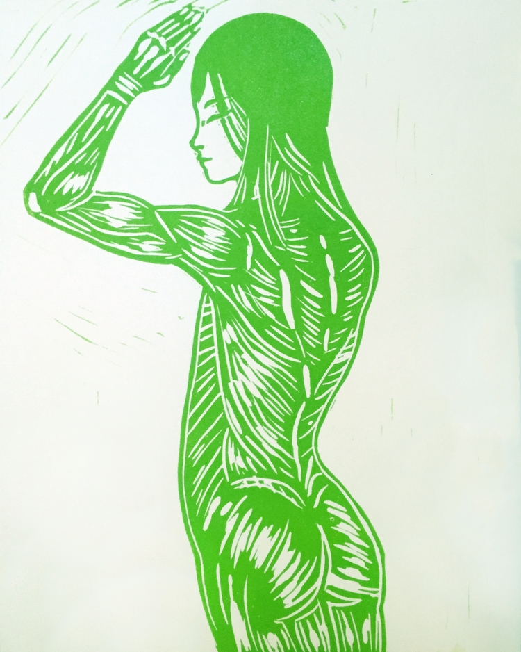 Anatomy Girl, relief print. 8x1 - kentack | ello