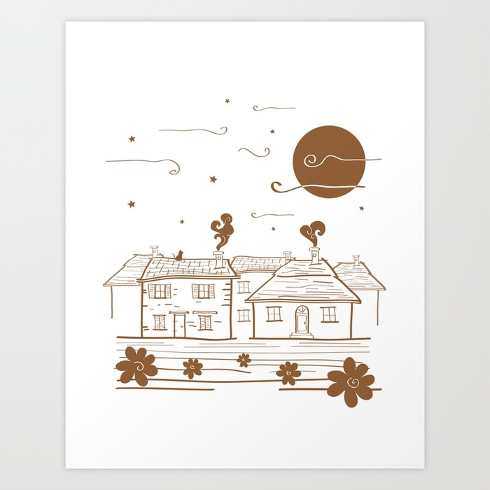 goodnight, moon, village, brown - miideegrafiche   ello