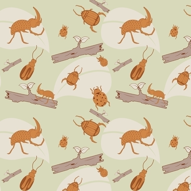 beetle insect themed pattern - beetles - svaeth | ello