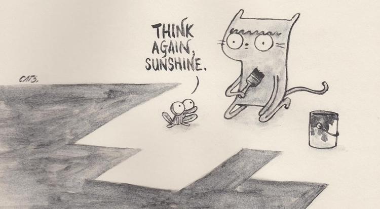 idea - watercolour, graphite, sliceoflife - catsac | ello