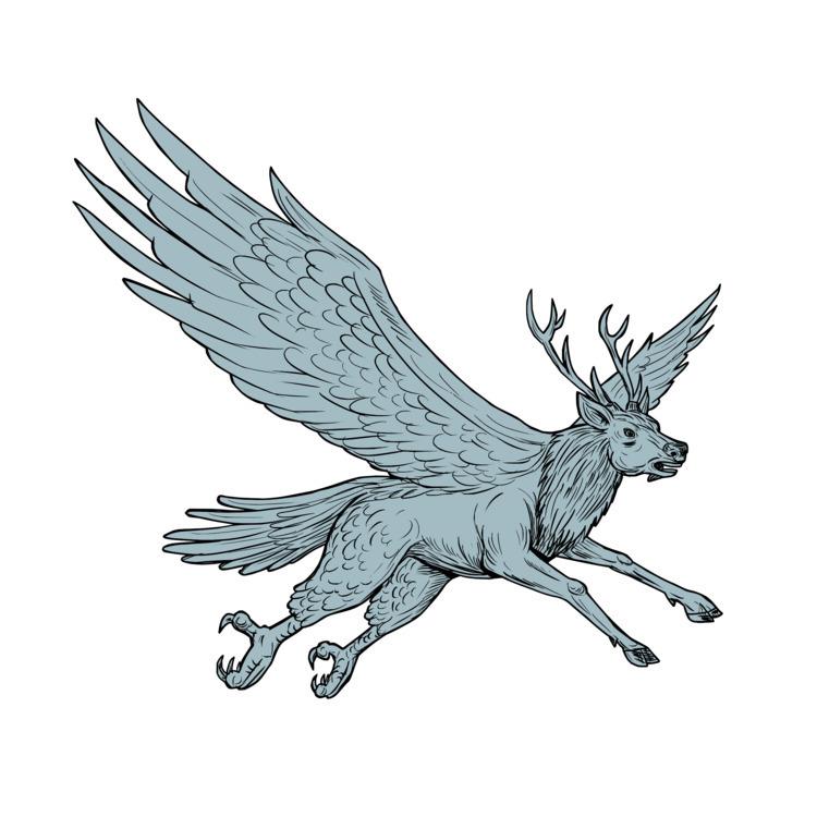 Drawing - Peryton, Flying, Side - patrimonio | ello