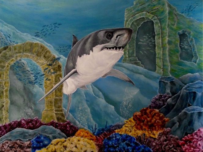 shark, underwater, ruins, wildlife - fayeanastasopoulou | ello