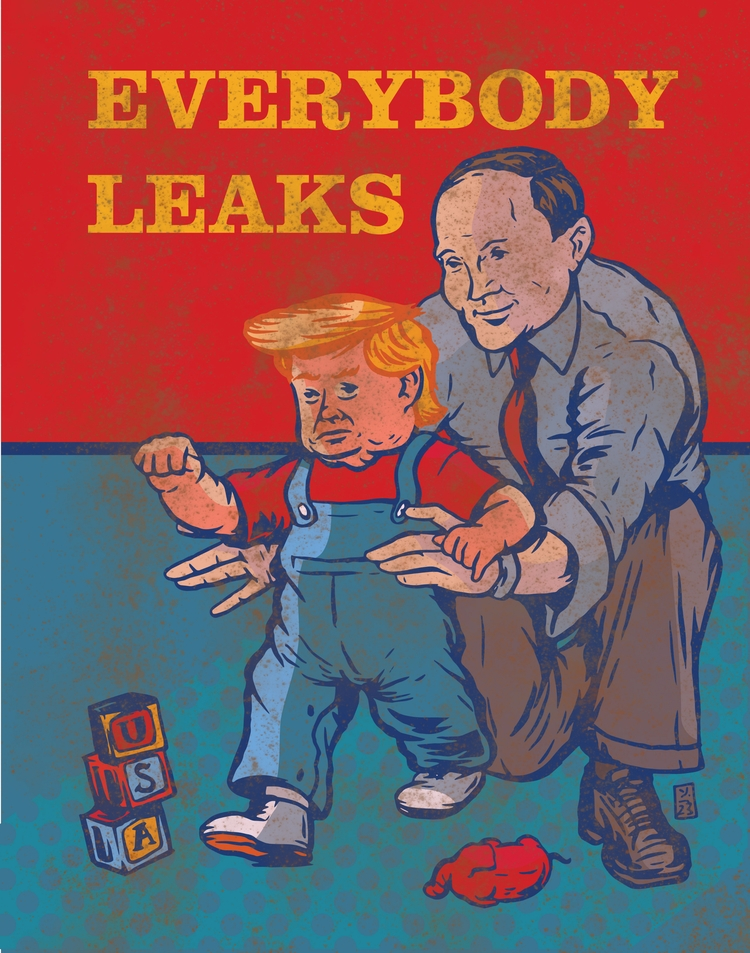 Leaks - illustration, trump - thomcat23 | ello
