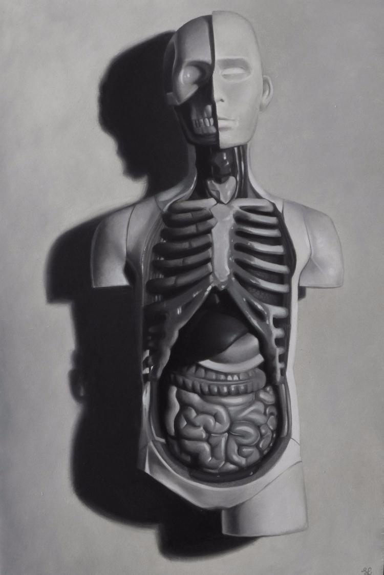 'Anatomical Life' Oil wood moun - stevelawsonart   ello