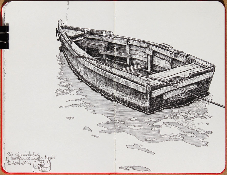 Wooden row boat - drawing, sketch - luisgof | ello