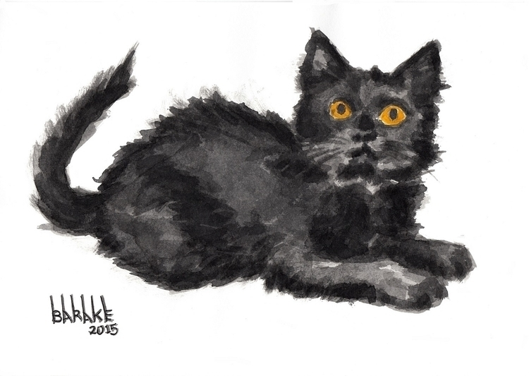 BLACK KITTEN - cat, portrait, kitten - barakesculptor | ello