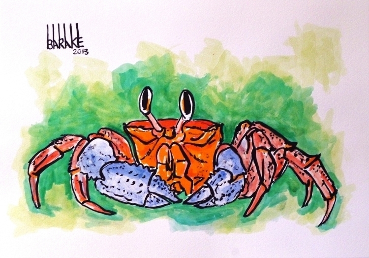 CRAB - sea, crab, beach, ink, paper - barakesculptor | ello