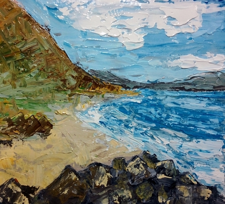 coastal view canvas - acrylic, contemporary - jotzomakas | ello