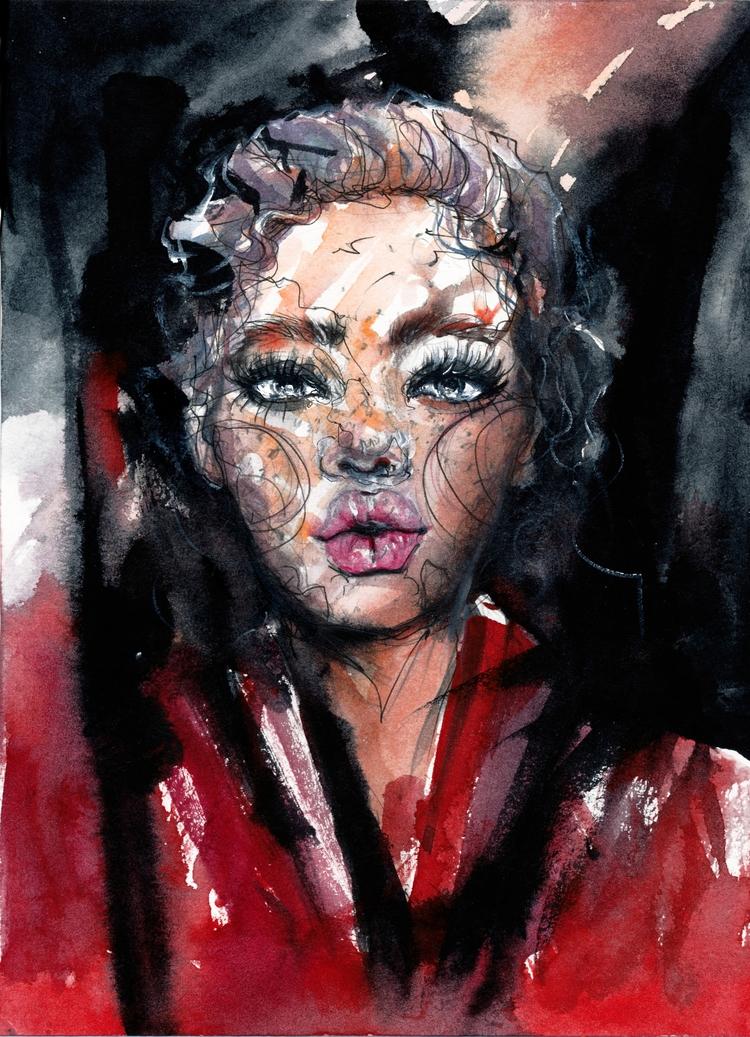 Red - fashionillustration, fashion - ibreathart | ello