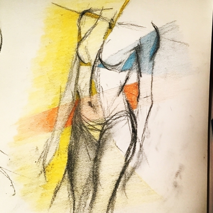 Charcoal. Colored pencil - playtime - speck   ello