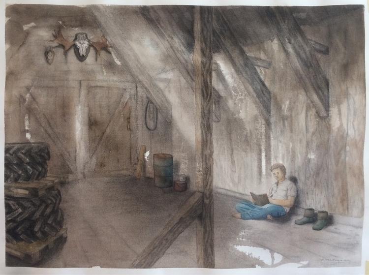 Barn 54x74cm Watercolor charcoa - tlrgrd | ello