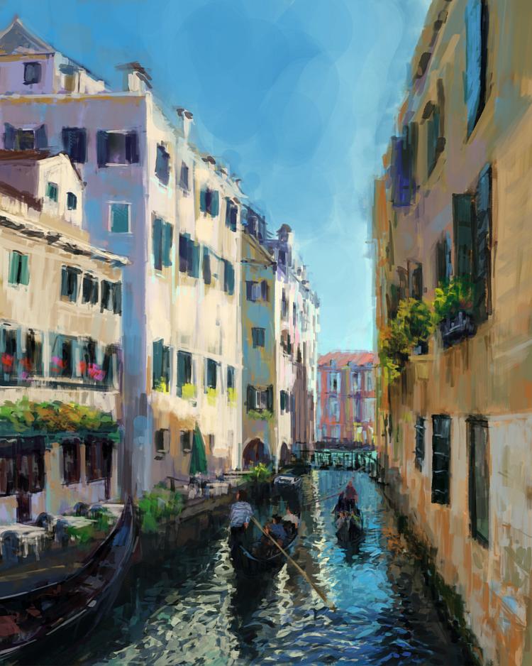 Sketch, photo study. Venice - digitalpainting - mujkicharis | ello