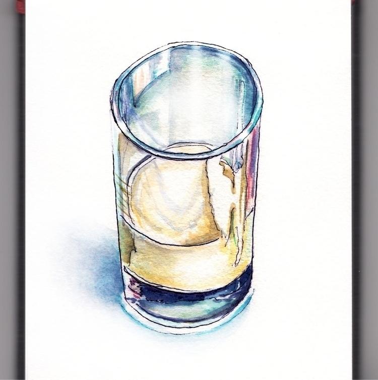 Glass Full - watercolor, watercolour - doodlewash | ello