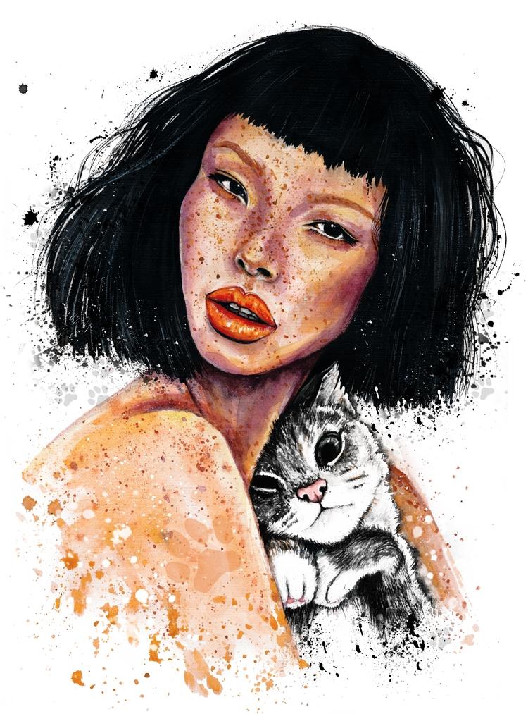 Kitty - fashionillustration, fashion - ibreathart | ello