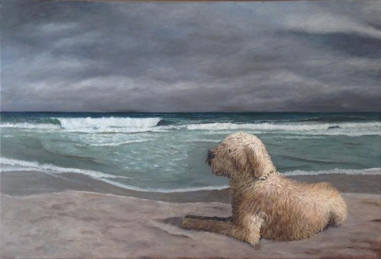 Oil painting 120 80 cm dog sea  - marjon-4891 | ello