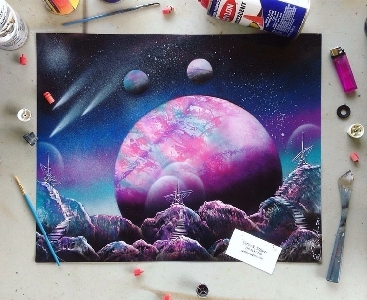 Purple hills. (16x20) spray pai - papicarlos | ello