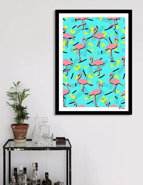 Flamingos Memphis Seamless trop - designdn   ello