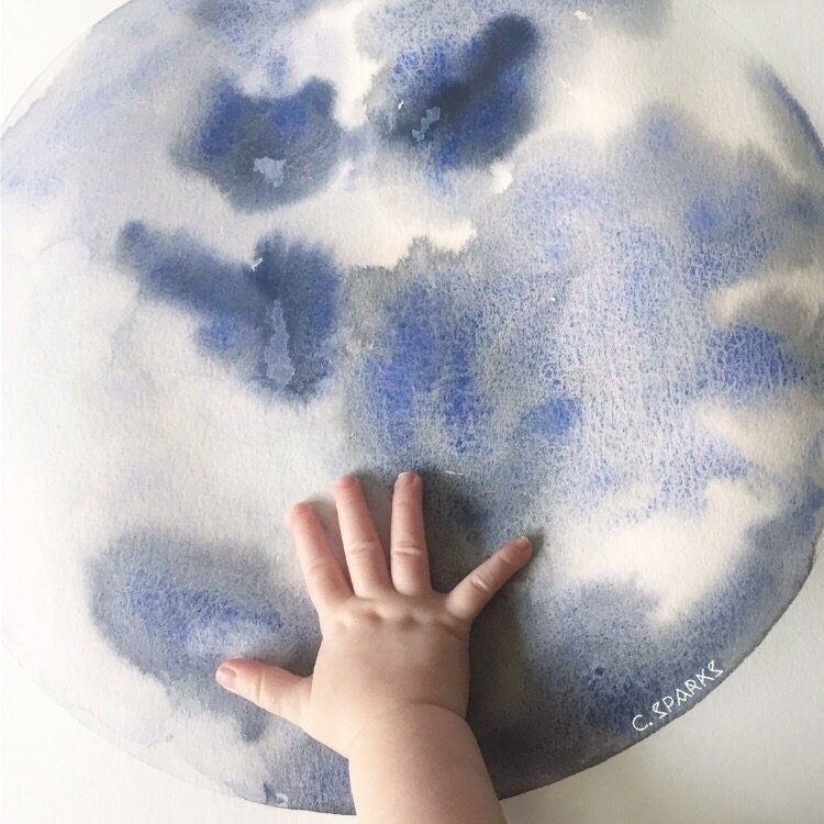 moon baby Japanese watercolors  - chrissysparksart | ello