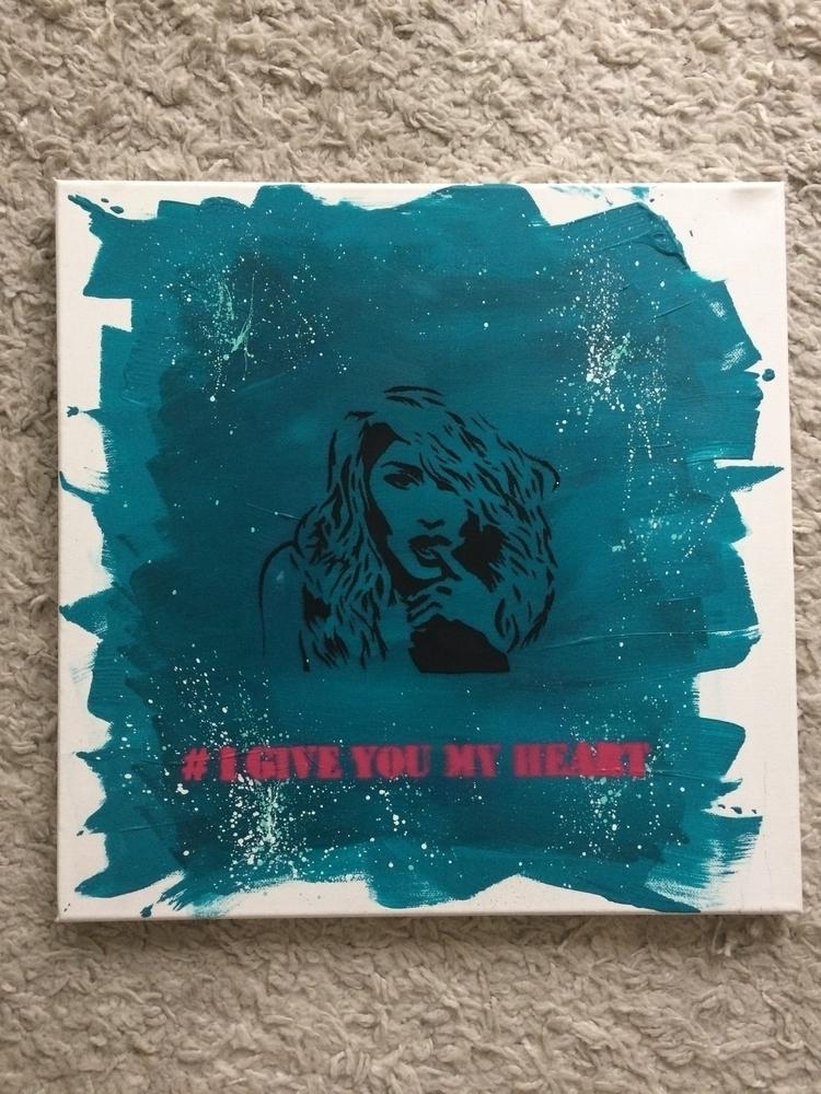 GIVE HEART acrylic canvas Stenc - liz_art_berlin | ello