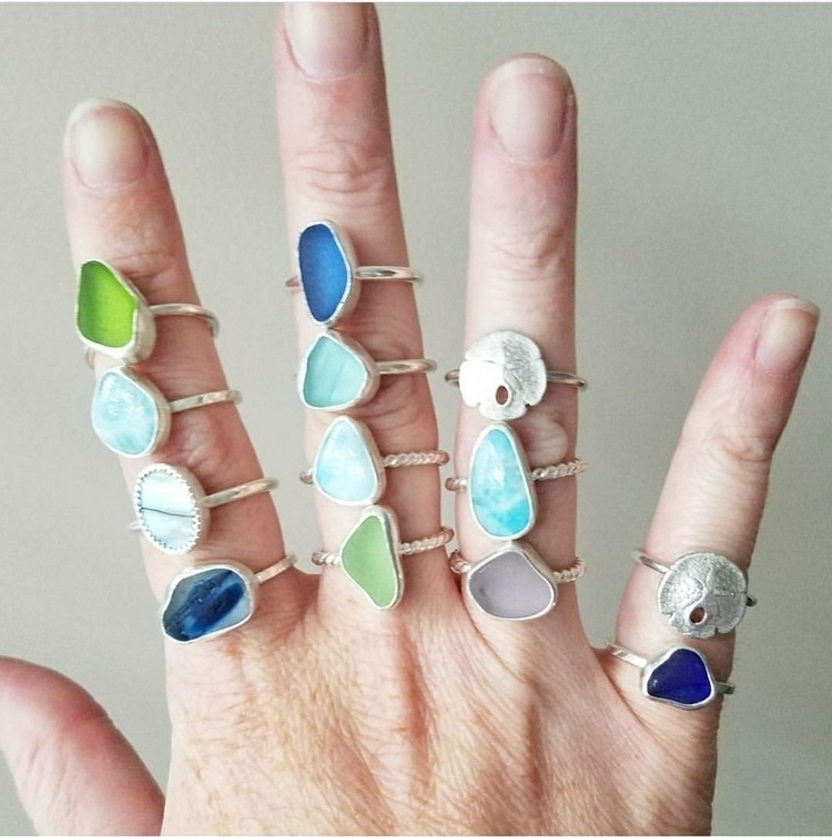 Stacking rings! Sea glass, lari - cjsseashop | ello