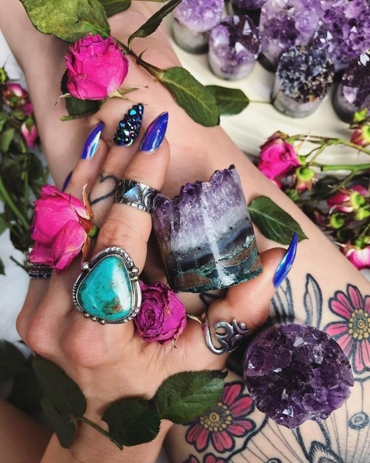 jewels, amethyst, magic, rocks - wingostarrjewelry | ello