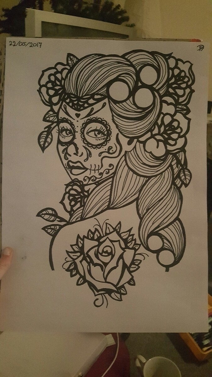 drawing, dayofthedead, blackandwhite - pollydesia | ello
