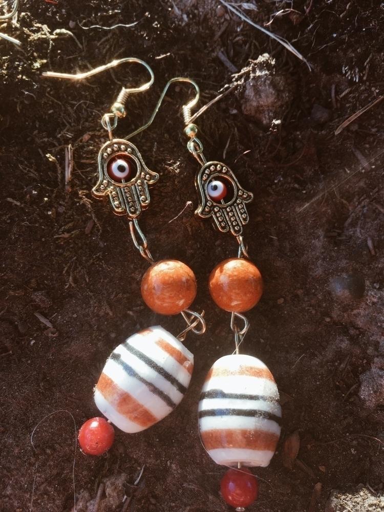 Hamsa dangle earrings symbol br - gypsyxjewels   ello
