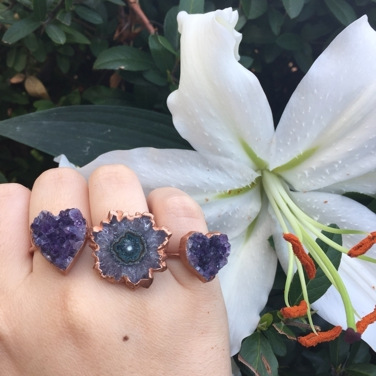 electroformed amethyst rings - ringsonrings - stoneandspirit | ello