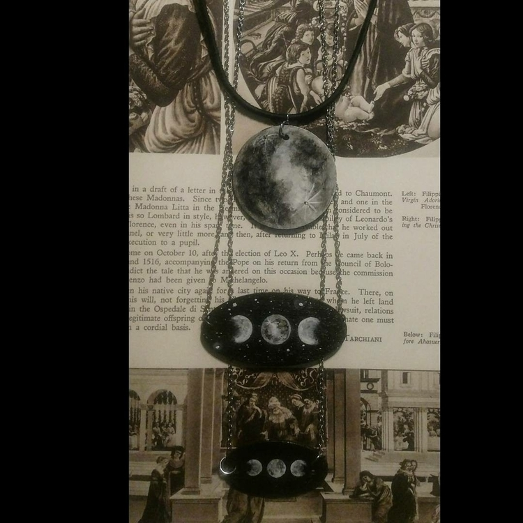 Wooden moon phase necklaces, ha - shadowlighthaven   ello