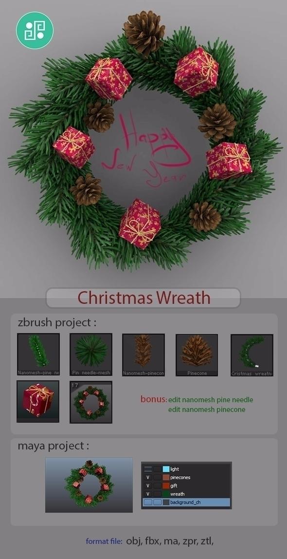 Xmas Wreath - art, christmas, christmas - alexpoint | ello