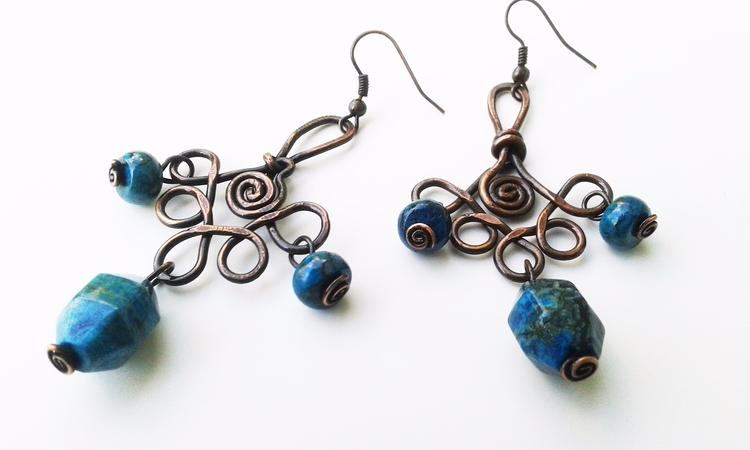 Blue jasper handmade earrings.  - deedooleedoodoo | ello