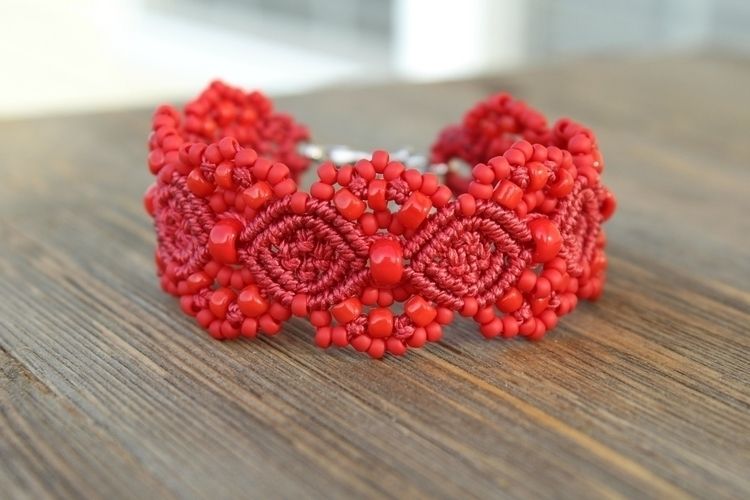 Lovely solid red micro macrame  - hkmacramejewelry | ello