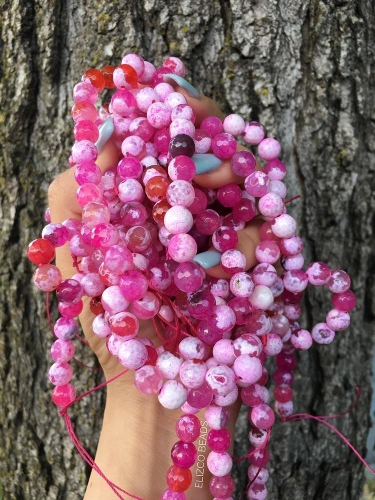 pink fire agate beads list shop - elizcobeads | ello