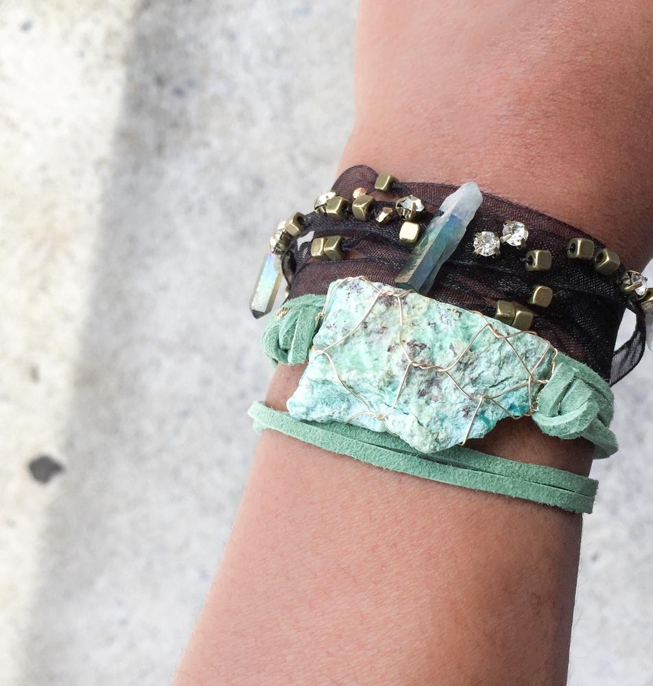 Chrysocolla wrap bracelet cryst - artayaloka | ello