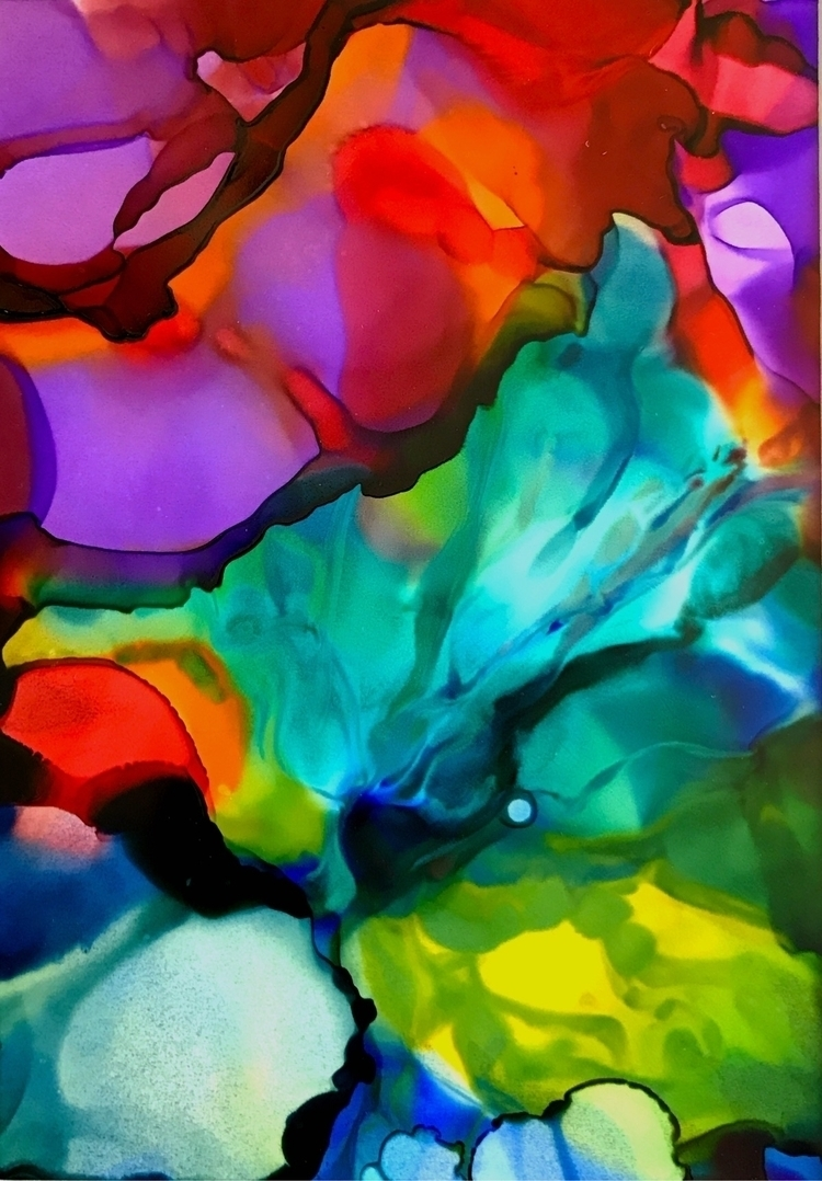 Detail 5x7 alcohol ink Yupo pap - meltedtheory | ello