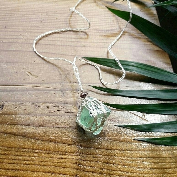 Green Flourite Octahedron Amule - emknits | ello
