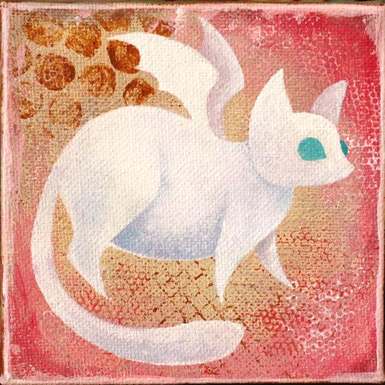Albino Batcat, 4x4 gallery-wrap - lirelyn | ello