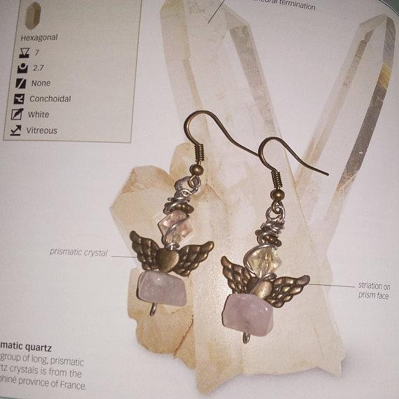 close Rose Quartz earrings part - mintroyaleshop | ello