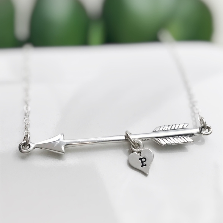 added sweet arrow initial neckl - rivervalleydesigns | ello