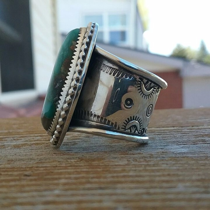 Royston stamped wide band ring - wildbuffalosilver | ello