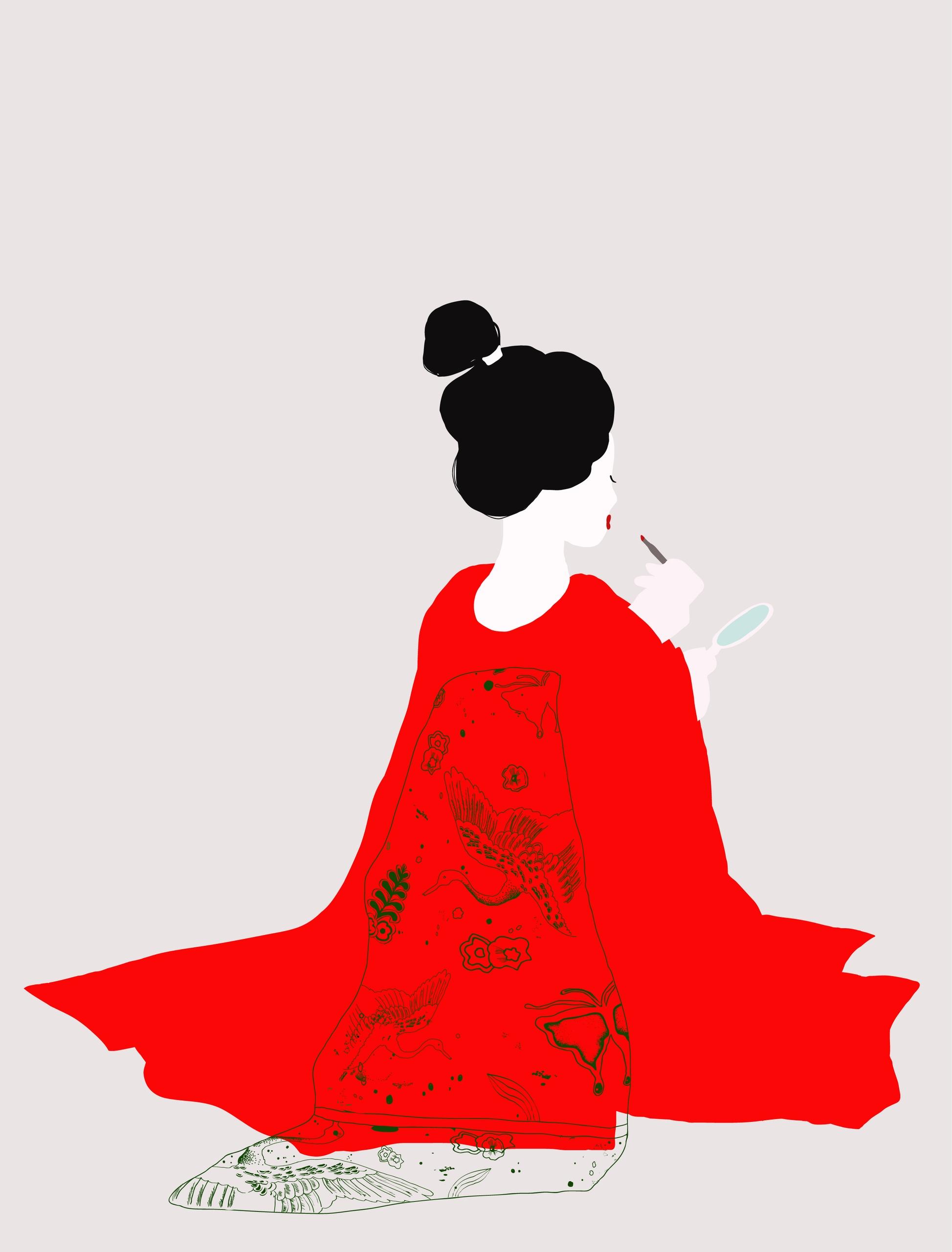 Illustration geisha - portrait, illustration - ievarag1   ello