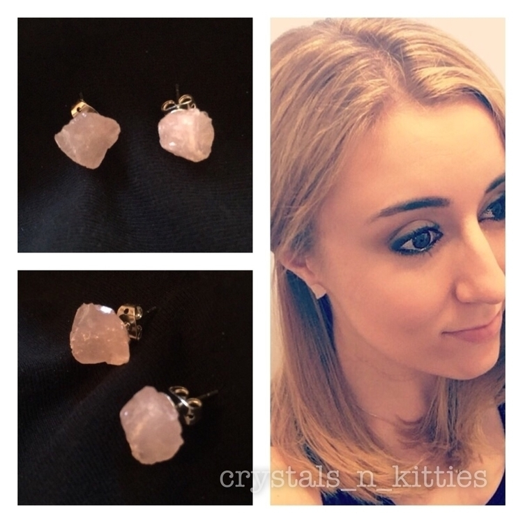 Raw rose Quartz studs shop $8 - rosequartz - crystalsandkitties | ello