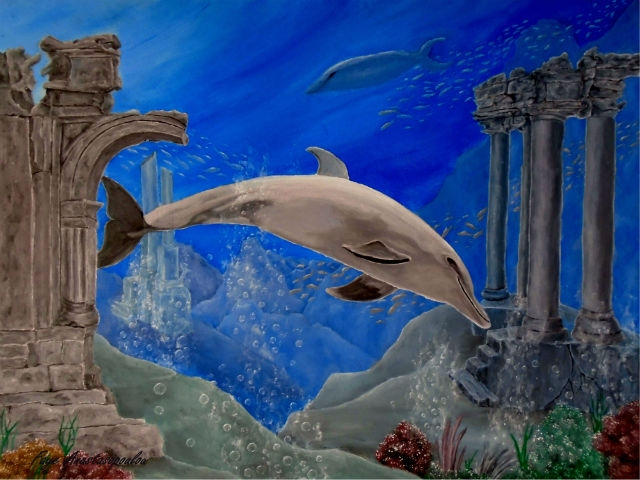 dolphin, ocean, underwater, ruins - fayeanastasopoulou   ello