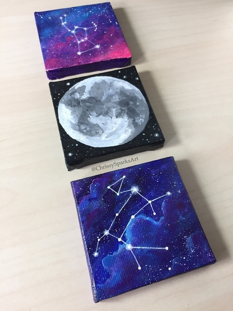 Mini Constellation Paintings - art - chrissysparksart | ello